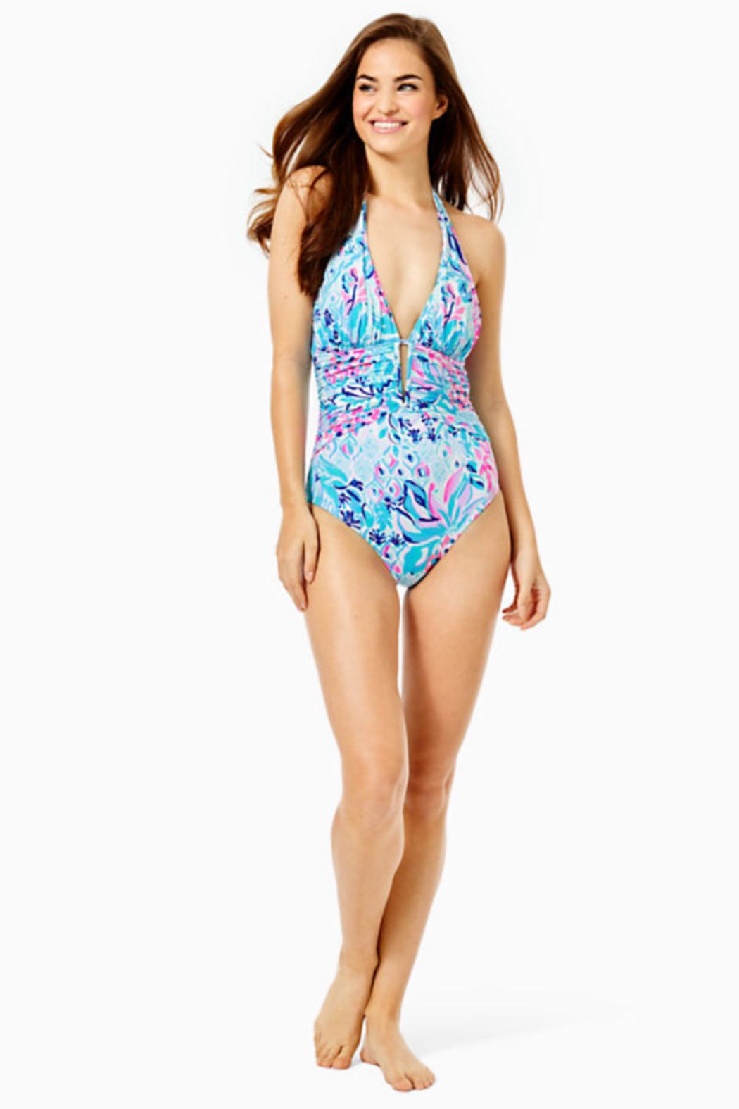Lilly Pulitzer Lanai Halter One-Piece Swimsuit - Side Cropped Image