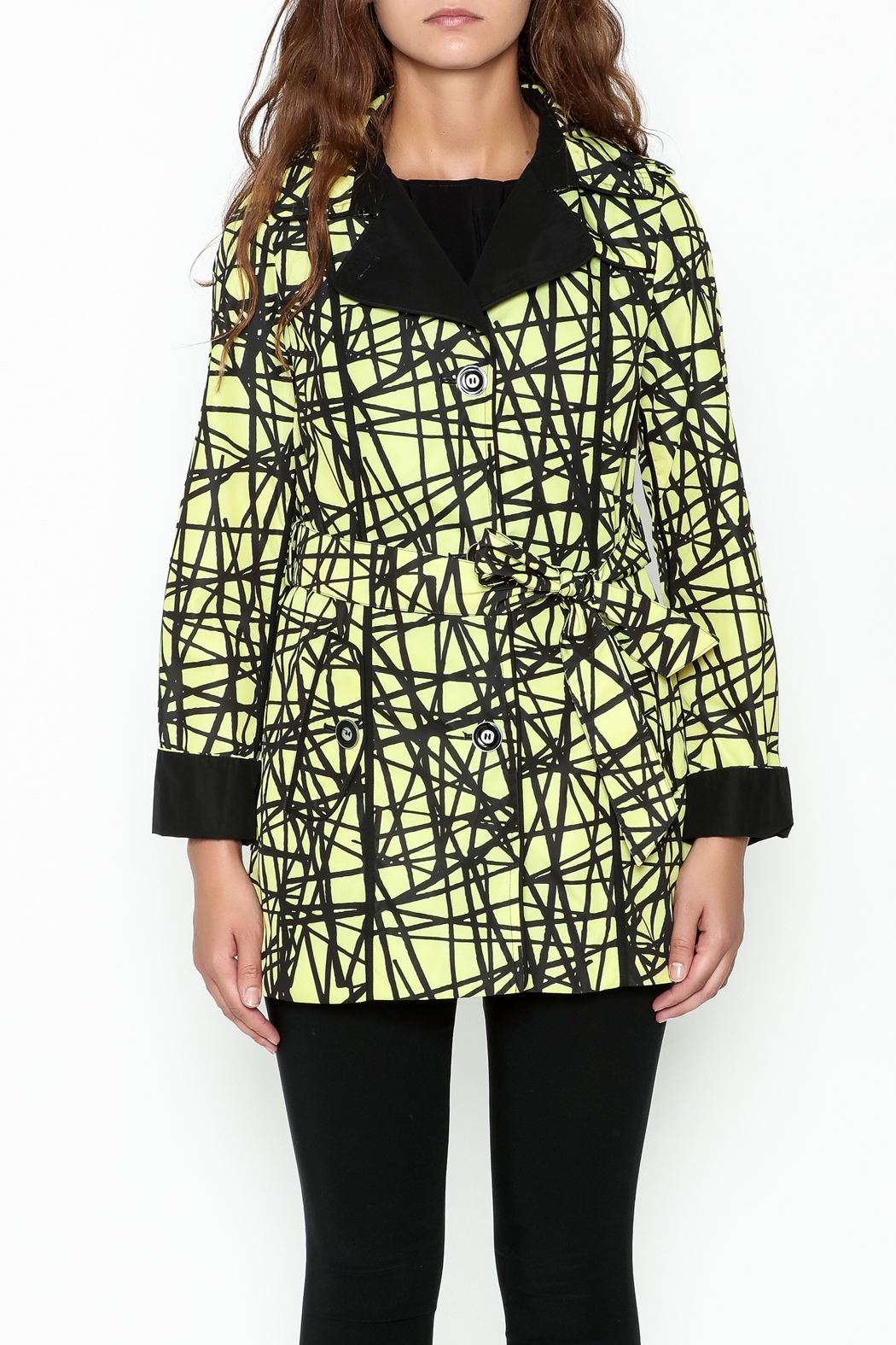 Landi Yellow Graphic Trench - Front Full Image