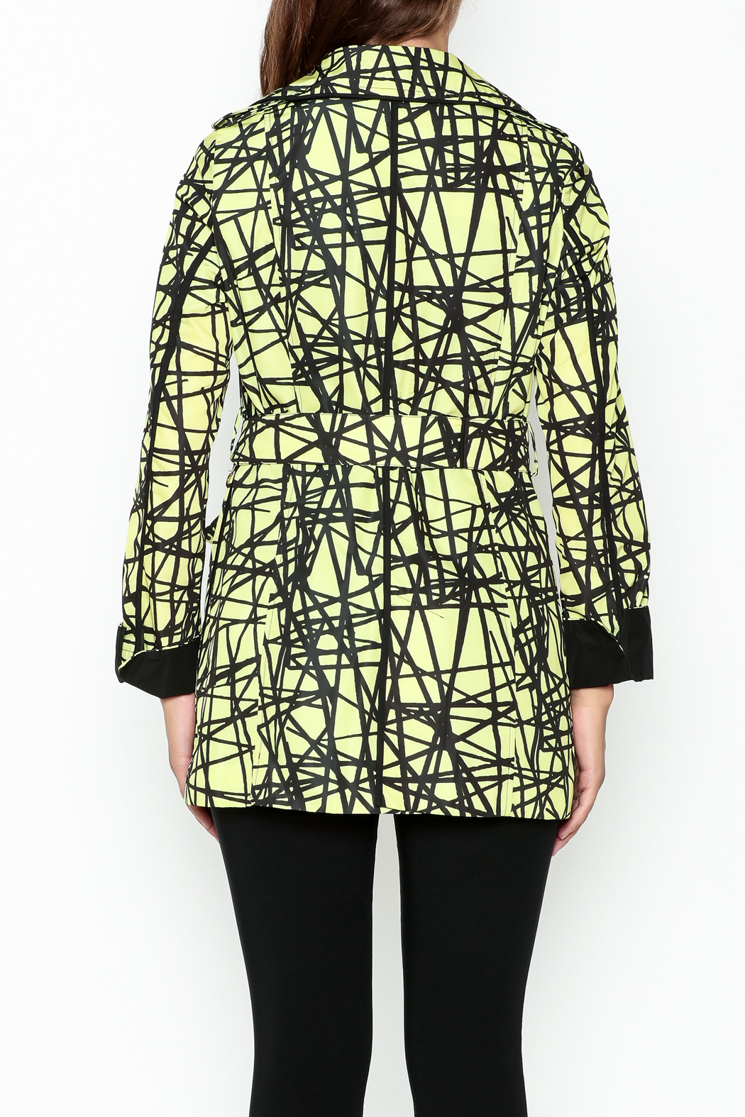 Landi Yellow Graphic Trench - Back Cropped Image