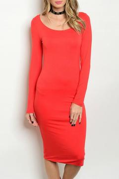 Shoptiques Product: Long Sleeve Red Dress