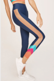 lanston sport Lanston Navy Retro Striped Leggings - Front cropped