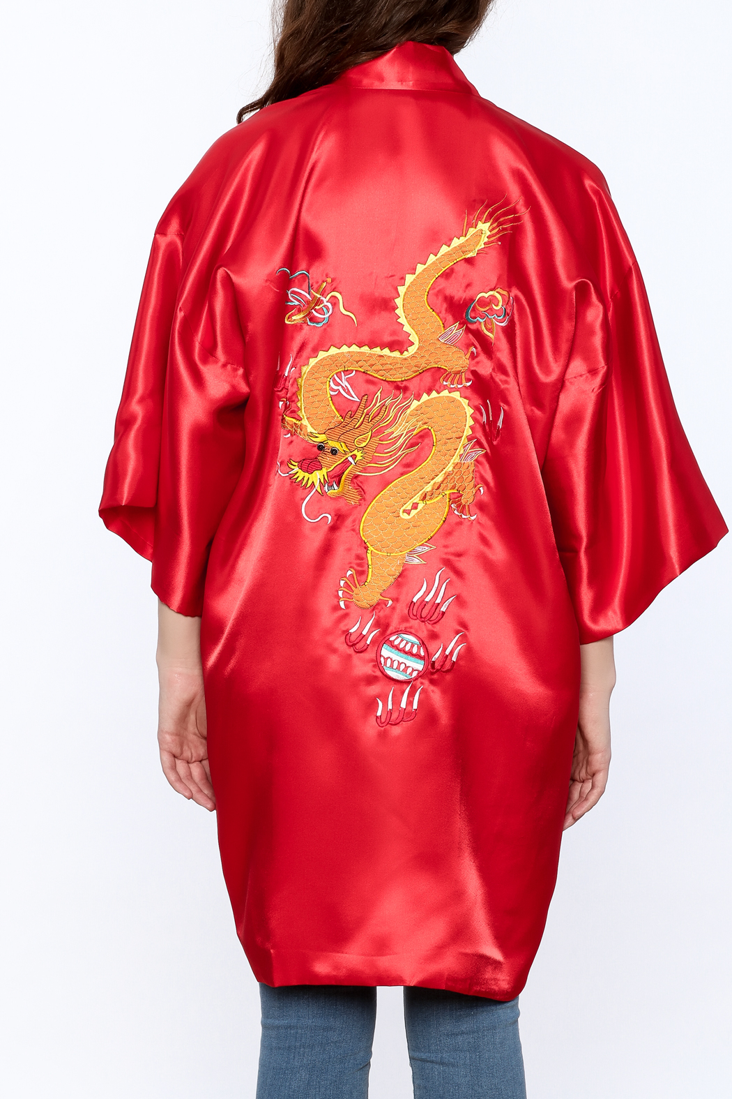Laogudai Red Dragon Satin Robe - Back Cropped Image
