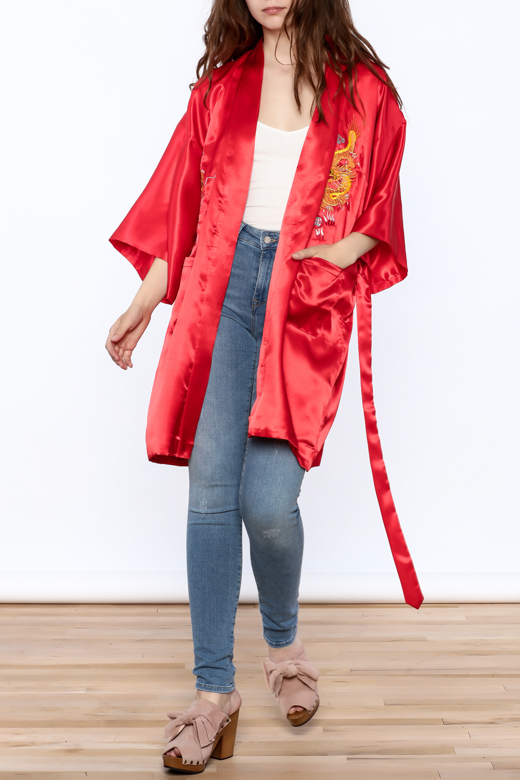Laogudai Red Dragon Satin Robe - Front Full Image