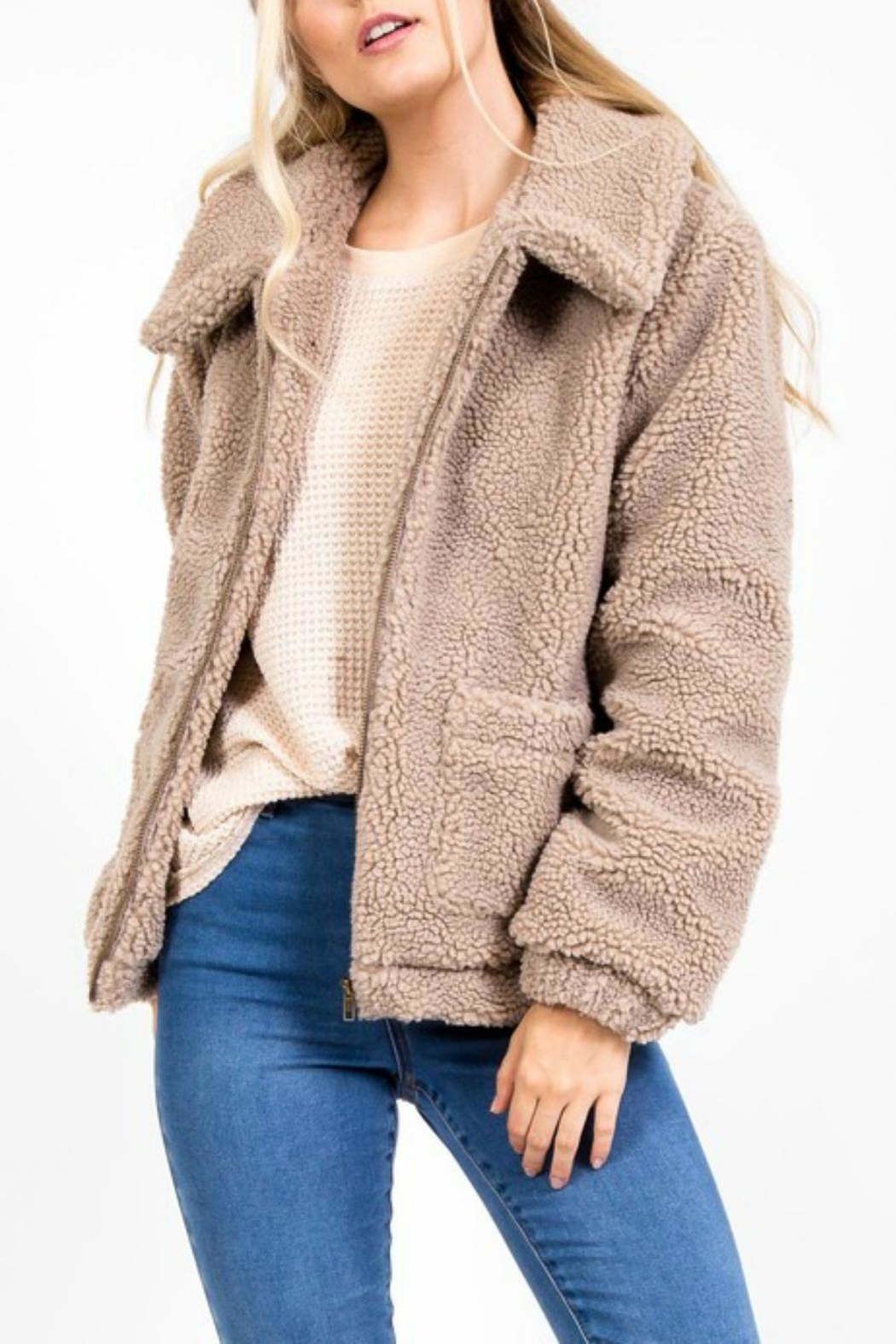 Pretty Little Things Lapel Teddy Coat - Front Cropped Image