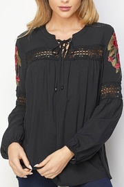 Lapis Lace-Up Embroidered Blouse - Product Mini Image