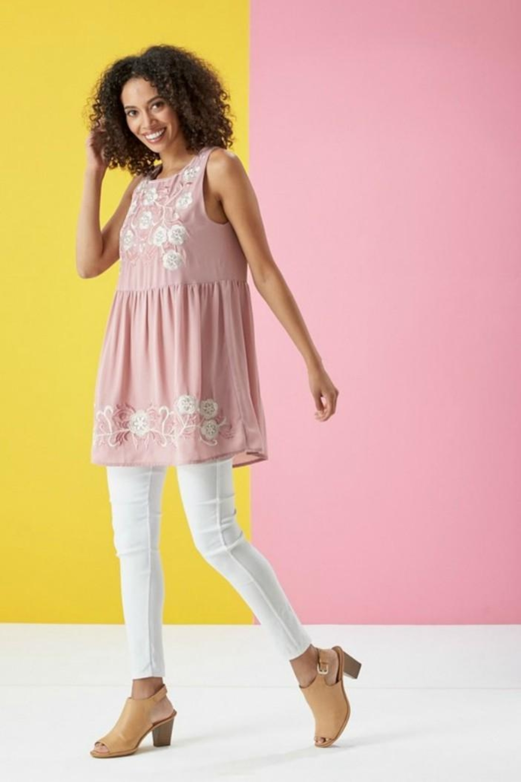 Lara Floral Embroidered Tunic - Front Full Image