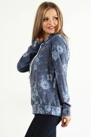 Lara Floral Terry Hoodie - Front full body