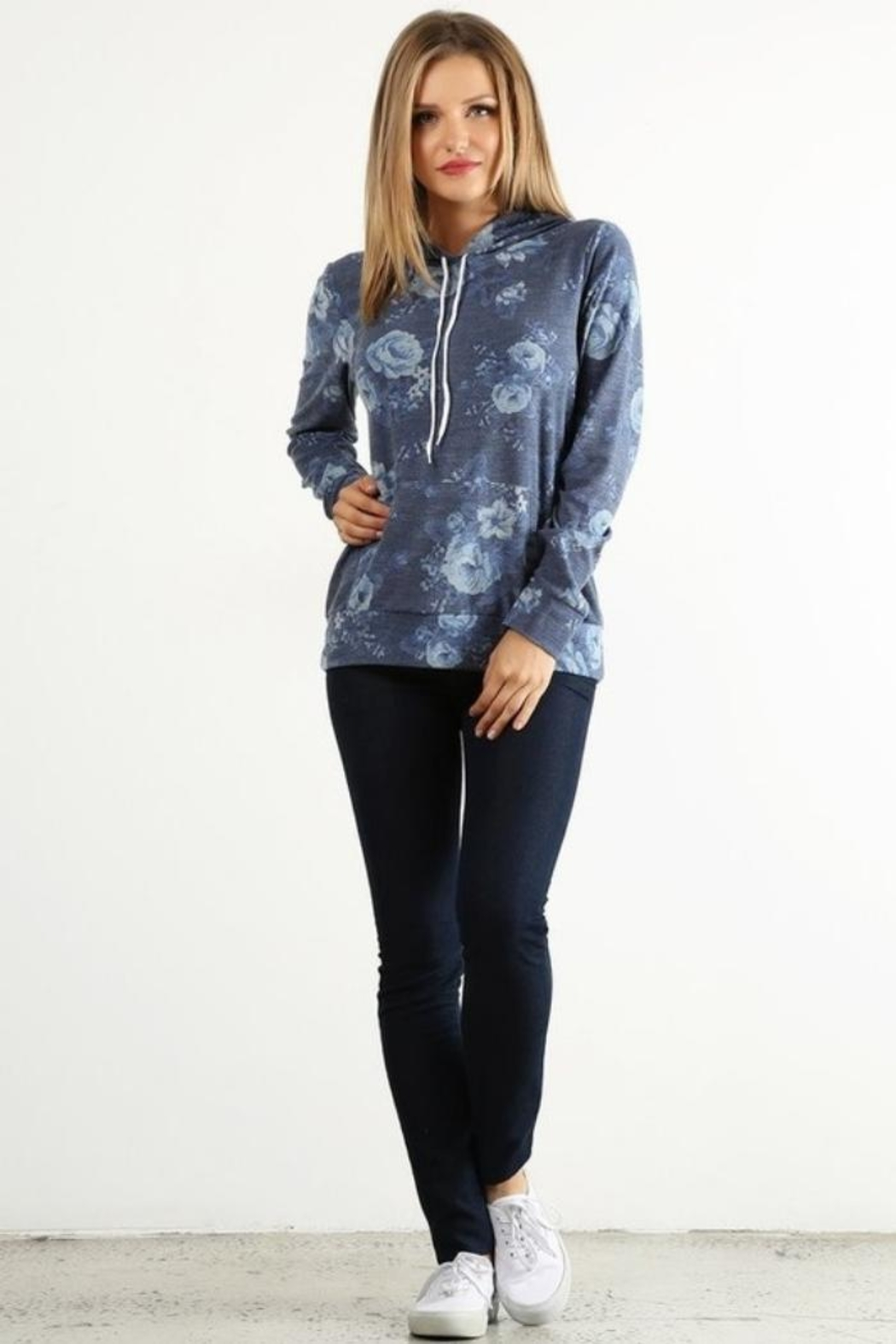 Lara Floral Terry Hoodie - Front Cropped Image