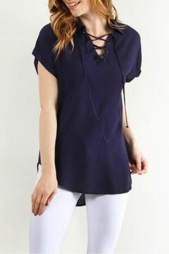 Lara Lace Up Collar Top - Product List Image