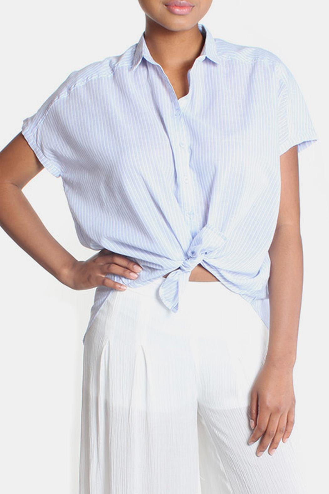 Lara Oversized Striped Button Down - Front Full Image