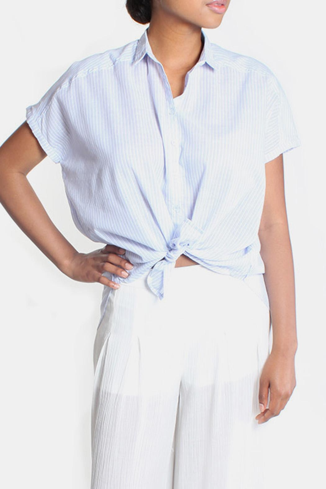 Lara Oversized Striped Button Down - Front Cropped Image