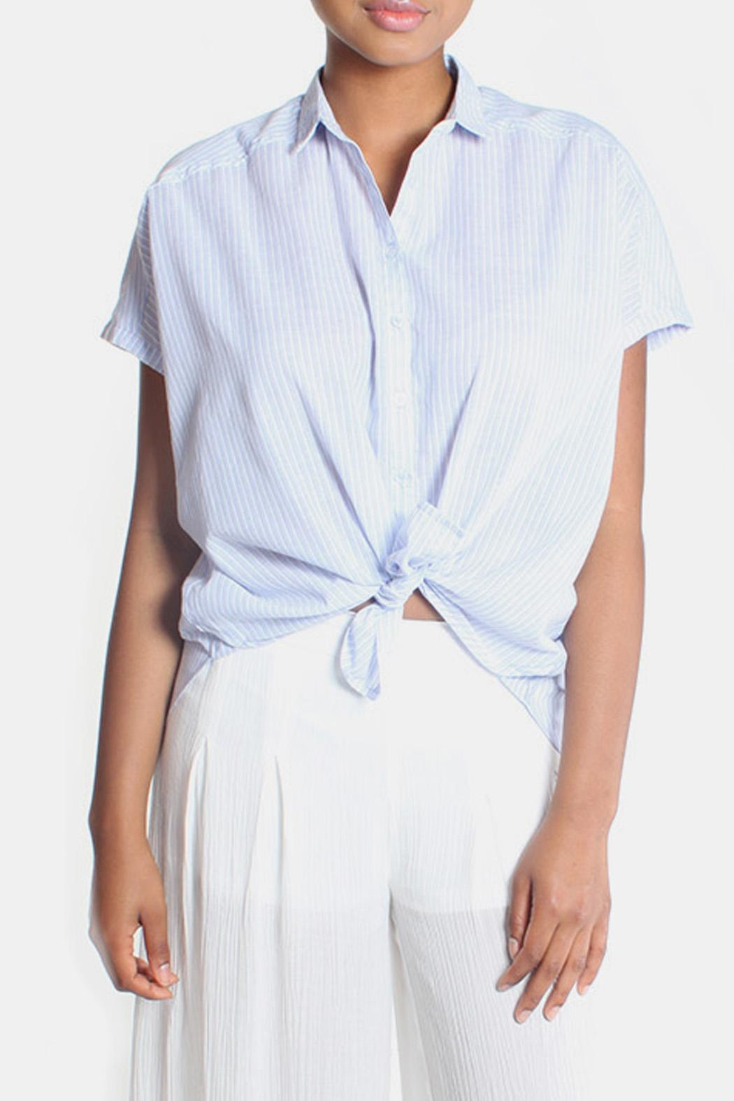 Lara Oversized Striped Button Down - Side Cropped Image