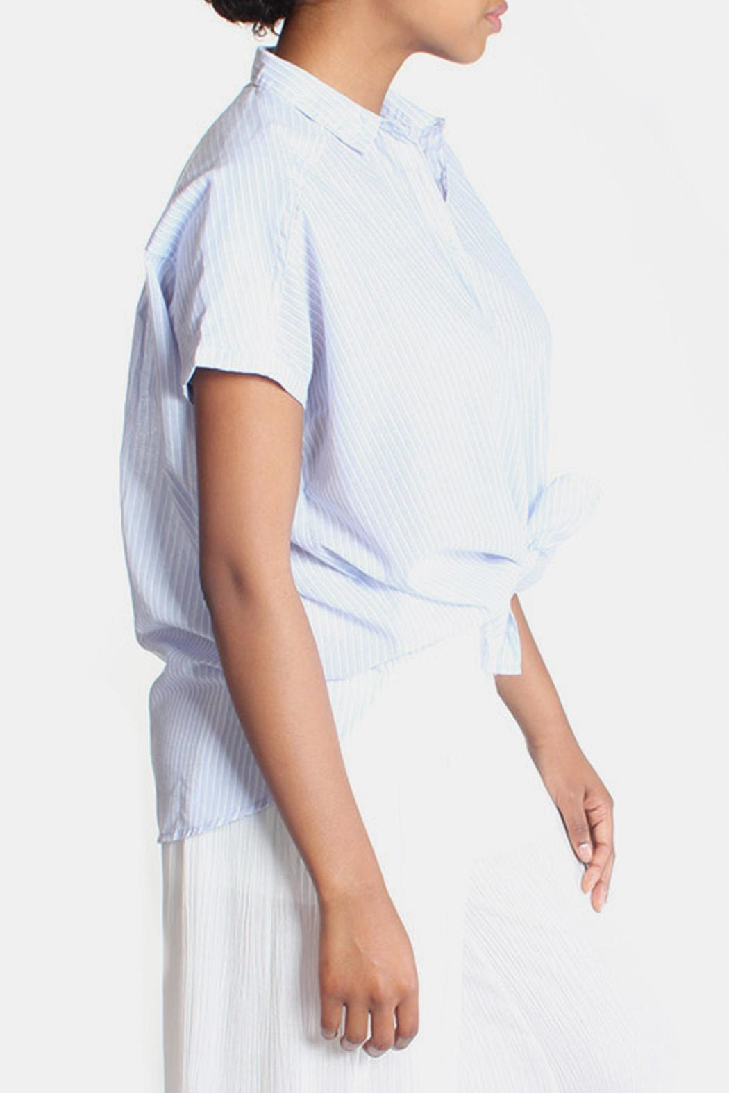 Lara Oversized Striped Button Down - Back Cropped Image