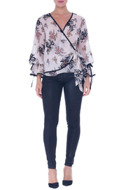 Atina Cristina Lara Sheer Floral Wrap Blouse - Product Mini Image