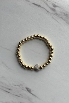 Love, Lisa Large Beaded Pave Heart Bracelet - Product List Image