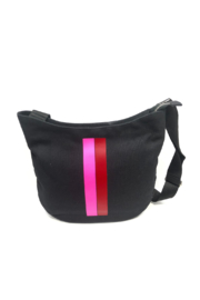 Quilted Koala Large City Bag - Red & Pink Stripe - Front cropped