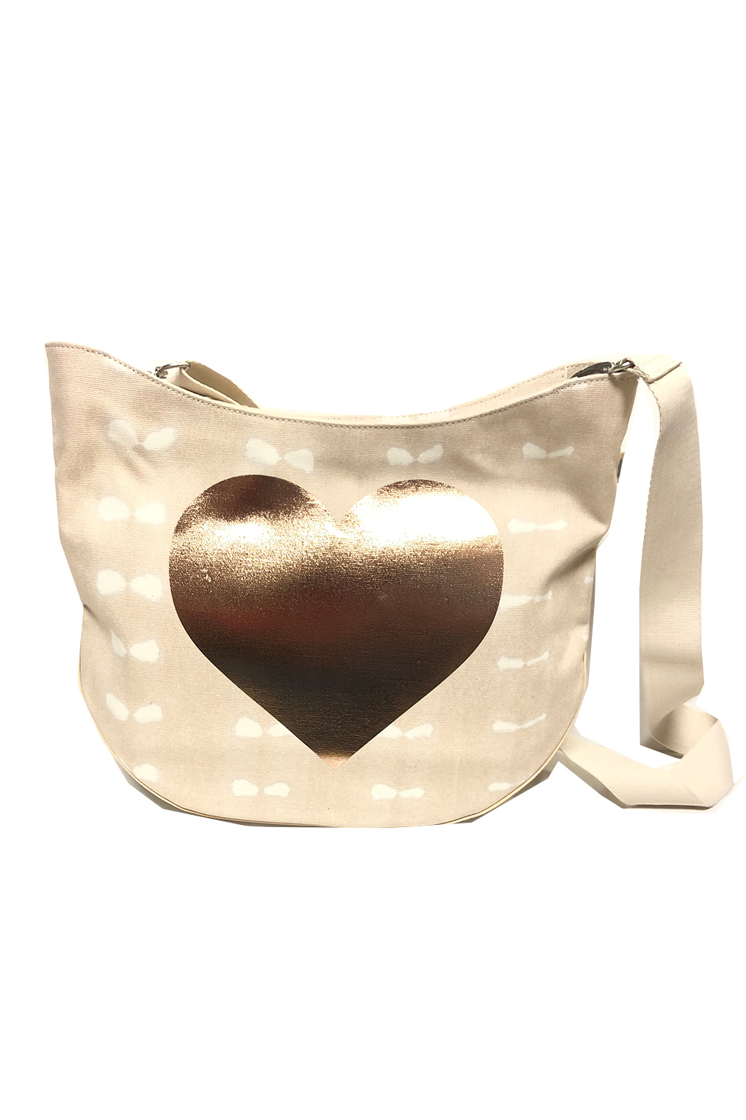 Quilted Koala Large City Bag - Stone Shibori with Rose Gold Heart - Front Cropped Image