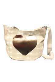 Quilted Koala Large City Bag - Stone Shibori with Rose Gold Heart - Front cropped