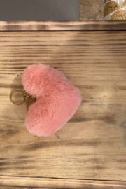 Kindred Mercantile  Large Fuzzy heart keychain - Front cropped