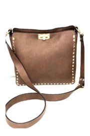INZI Large Gold Studded Crossbody - Front cropped