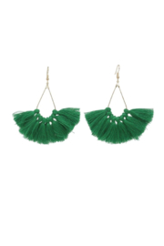 The Birds Nest LARGE GREEN TASSEL EARRINGS - Product Mini Image