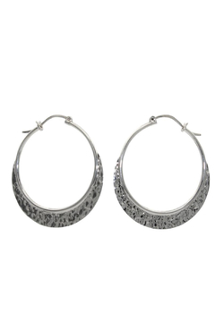 Accara Silver Large Hammered Hoop Earrings - Product List Image