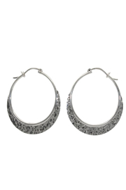 Accara Silver Large Hammered Hoop Earrings - Product Mini Image