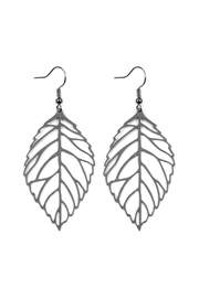 Riah Fashion Large-Leaf-Cast Hook-Earrings - Product Mini Image