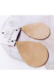 Cecelia Designs Jewelry Large Leather Teardrop Earring - Gold Shimmer - Product Mini Image