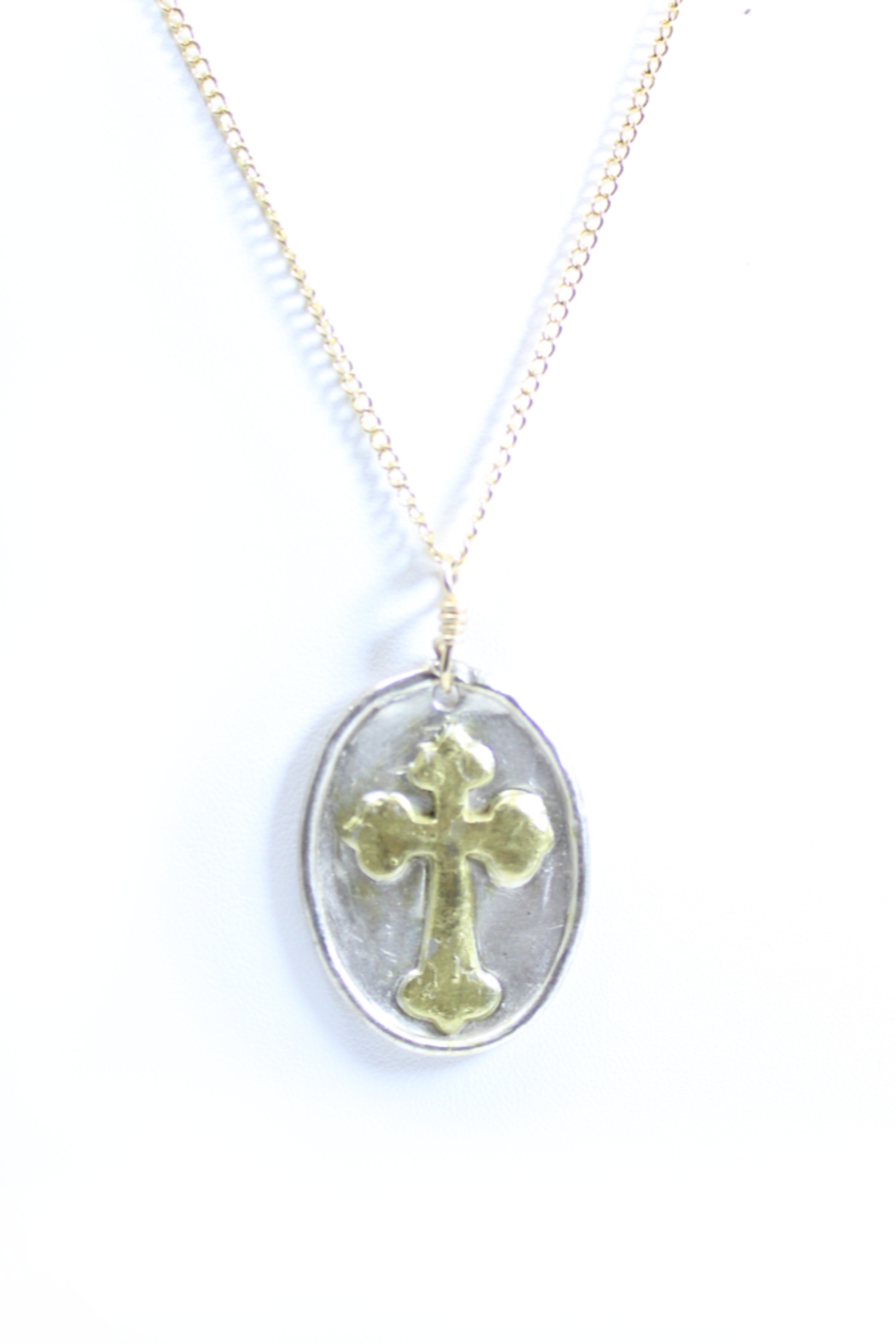 The Birds Nest LARGE OVAL CROSS NECKLACE - 17 INCH CHAIN - Front Full Image