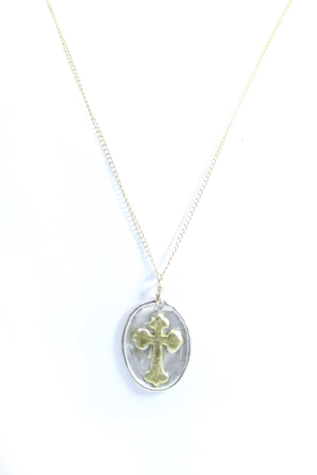 The Birds Nest LARGE OVAL CROSS NECKLACE - 17 INCH CHAIN - Main Image