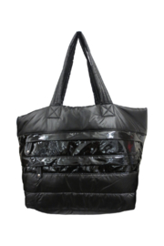 Sondra Roberts Large Patent Leather Puffer Tote - Front cropped