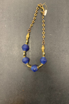 debe dohrer design Large Royal Blue glass with African Beads - Product List Image