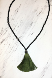Deux Amies Large Silk Tassel w Crystal Bead Necklace - Front cropped