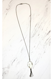 Mara Made Large stone tassel necklace - Product Mini Image
