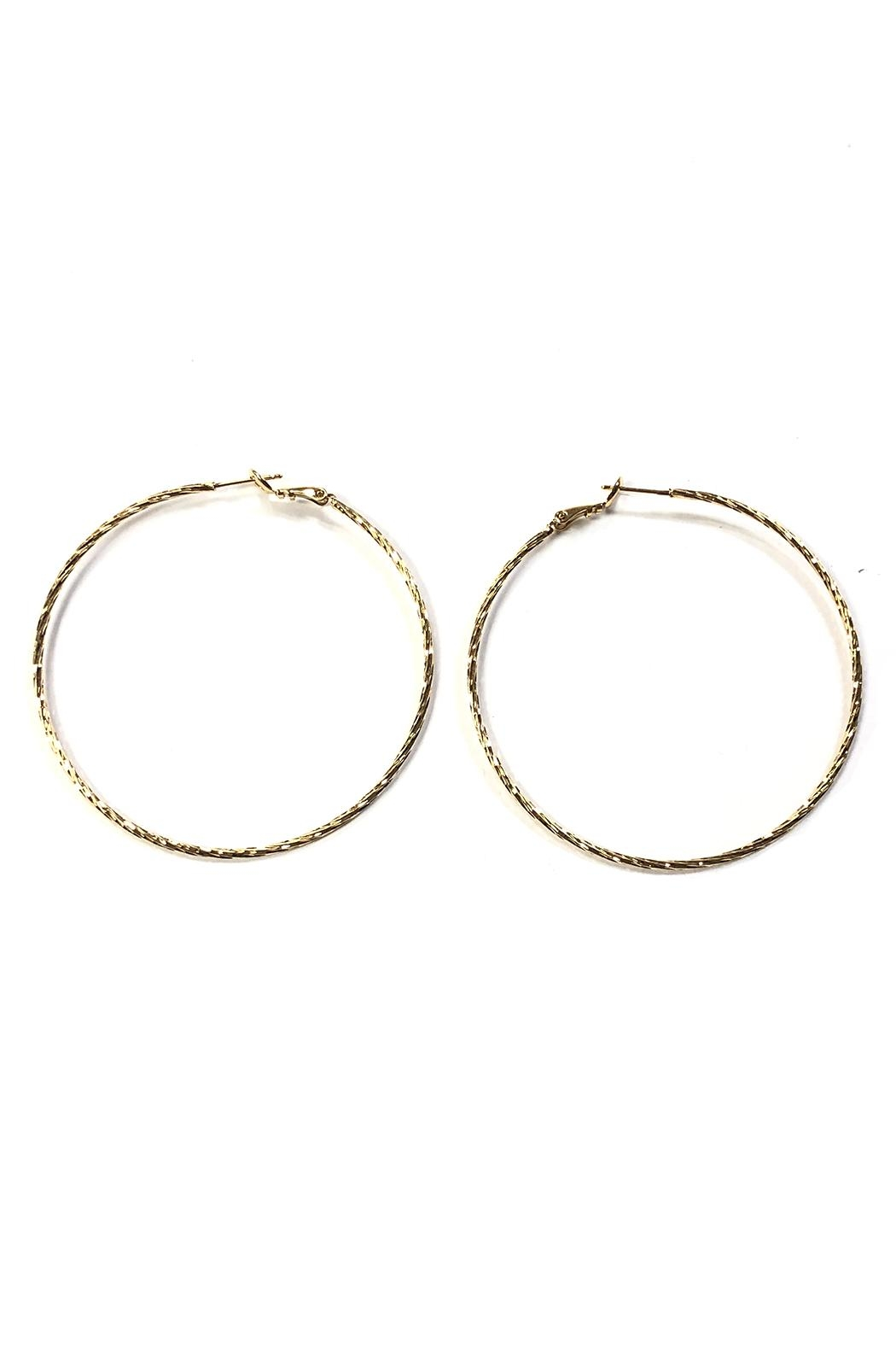 Lets Accessorize Large Textured Hoops - Front Cropped Image