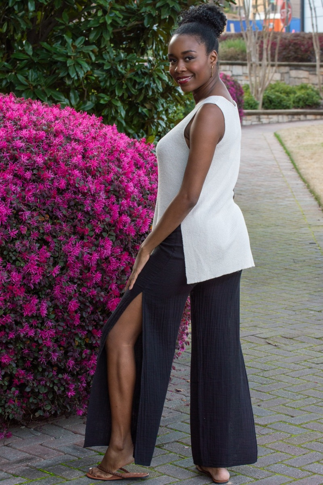 Cupcakes and Cashmere Larissa Ribbed Slit Knit Tank - Front Full Image