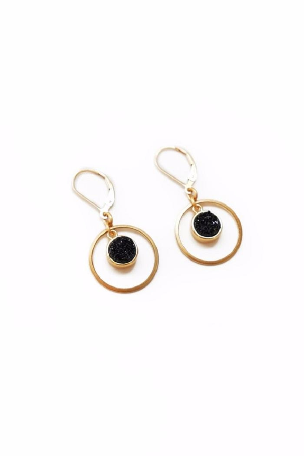 Larissa Loden Black Drusy Earrings - Front Cropped Image