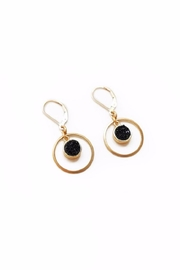Larissa Loden Black Drusy Earrings - Front cropped