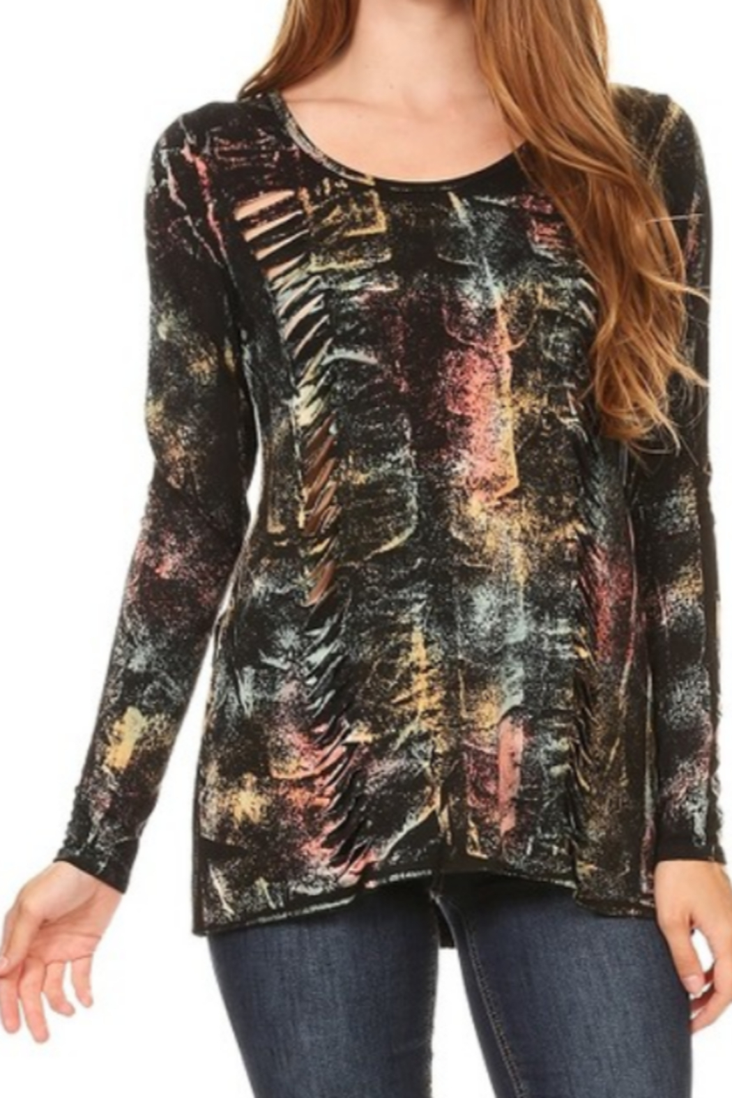 DiJore Laser Cut Long Sleeve Top - Main Image