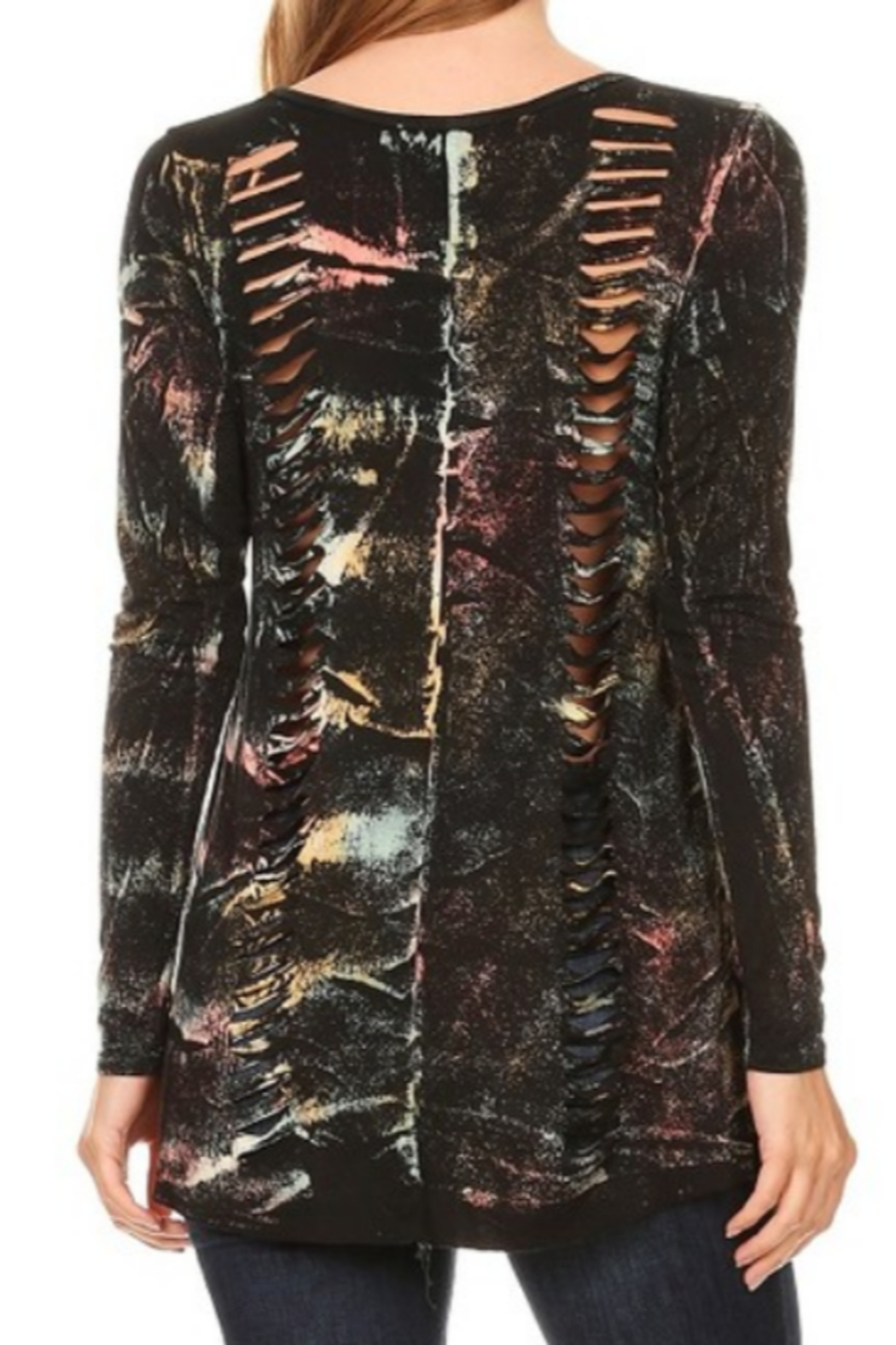 DiJore Laser Cut Long Sleeve Top - Front Full Image