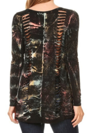DiJore Laser Cut Long Sleeve Top - Front full body