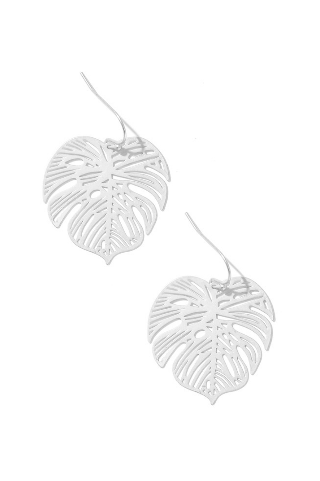 Anarchy Street Laser Cut Monstera Earrings - Front Cropped Image