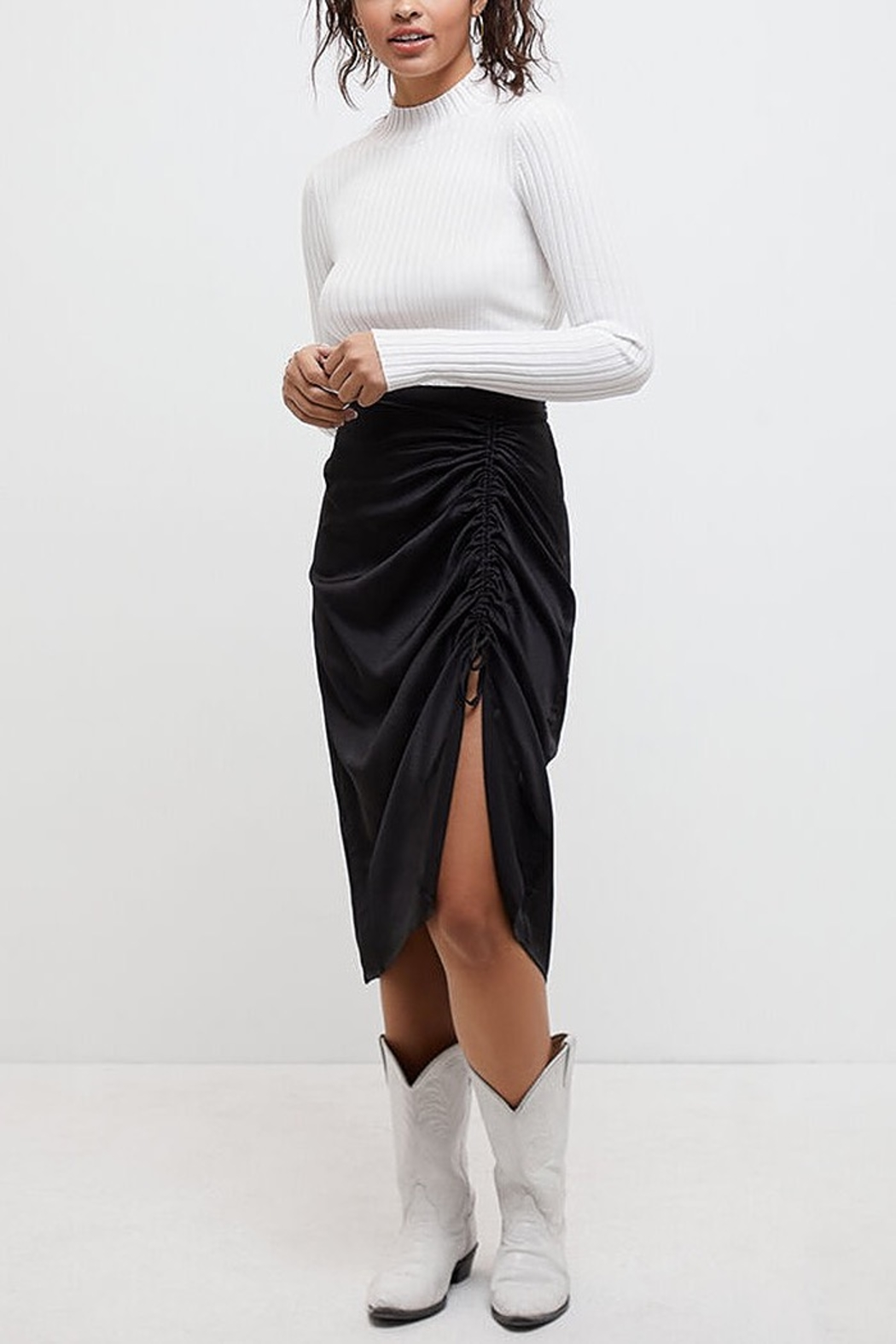 MINK PINK Last Song Drawstring Midi Skirt - Front Cropped Image