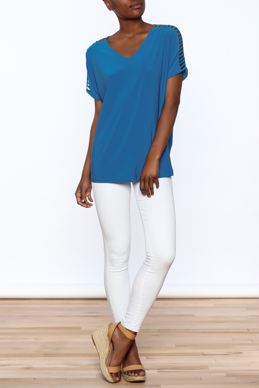 Last Tango Blue Tunic Top - Front Full Image