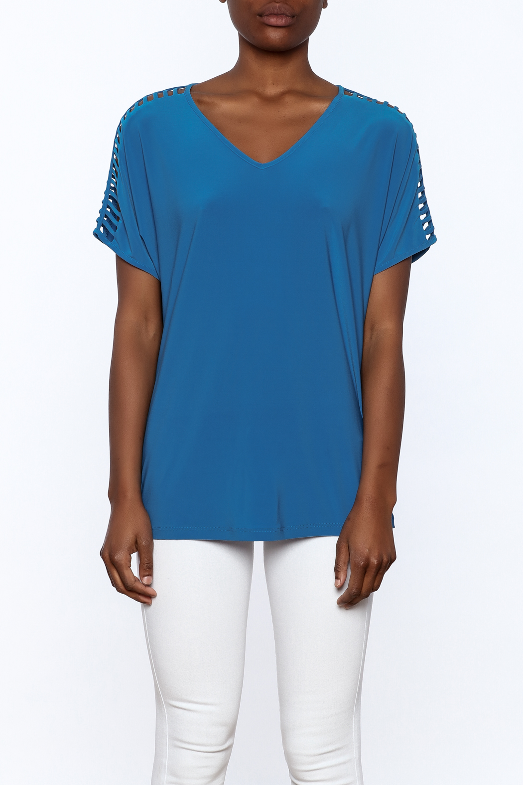Last Tango Blue Tunic Top - Side Cropped Image