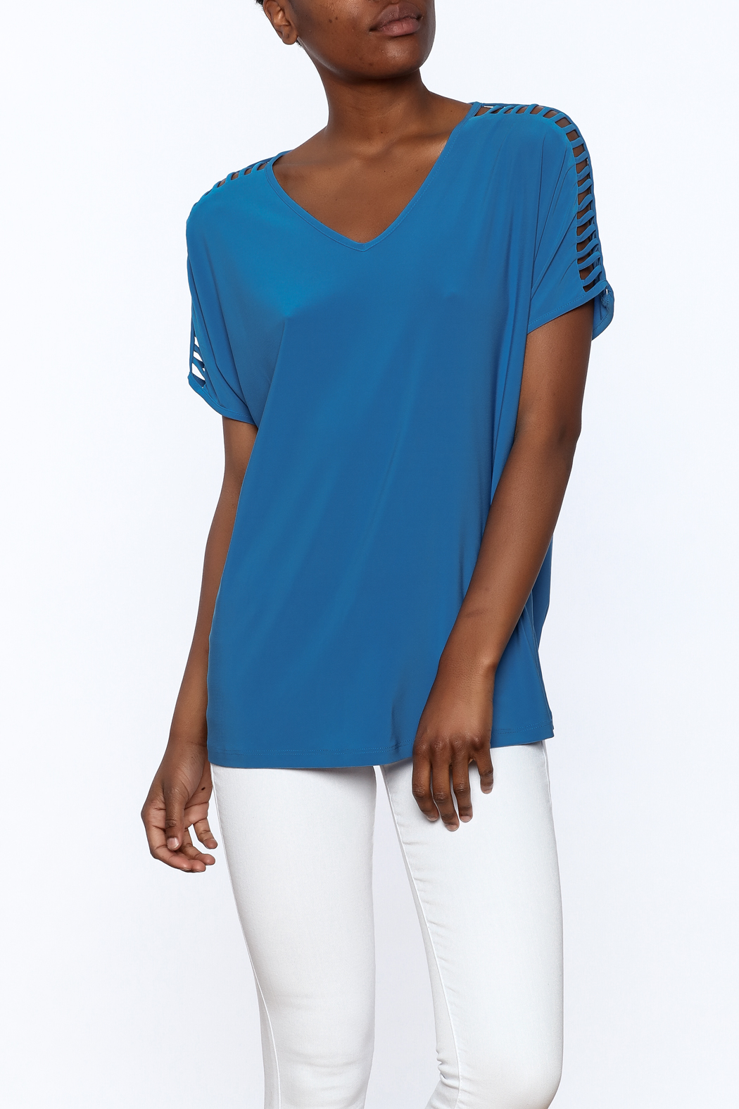 Last Tango Blue Tunic Top - Front Cropped Image