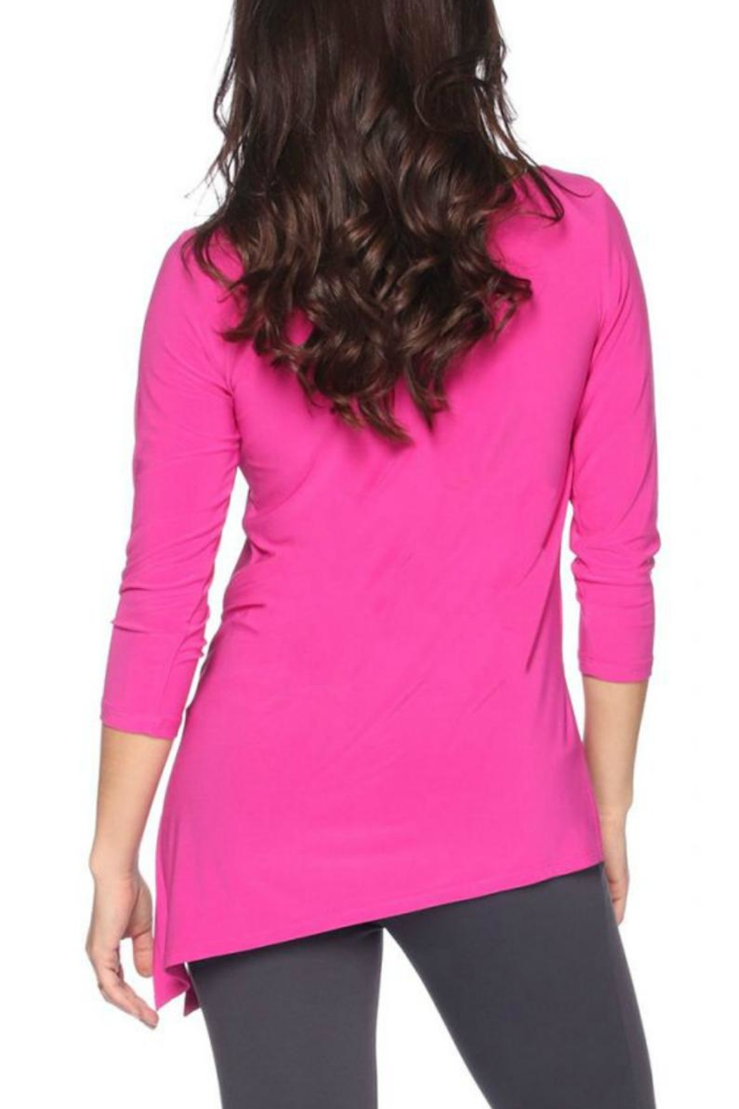 Last Tango Asymmetrical 3/4sleeve Top - Back Cropped Image