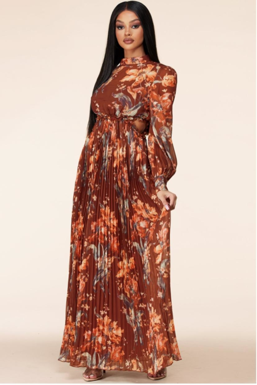 Latiste Autumn-Sunset Floral Maxi - Front Full Image