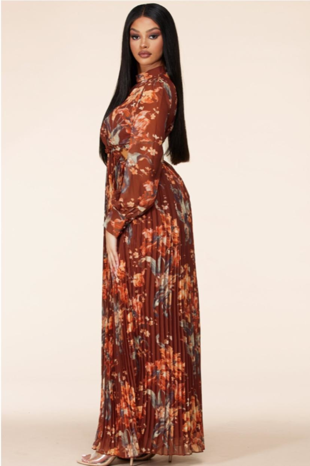 Latiste Autumn-Sunset Floral Maxi - Side Cropped Image